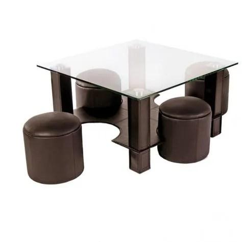 Table Basse En Verre Avec Pouf Chocolat Yvelise Achat