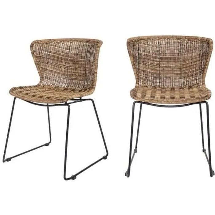 lot de 2 chaises indoor outdoor rotin tresse wings couleur naturel