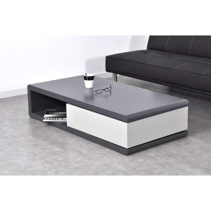 Maison Meubles Mobilier Push Table Basse Avec Tiroir Pivotant Gris F Auc L