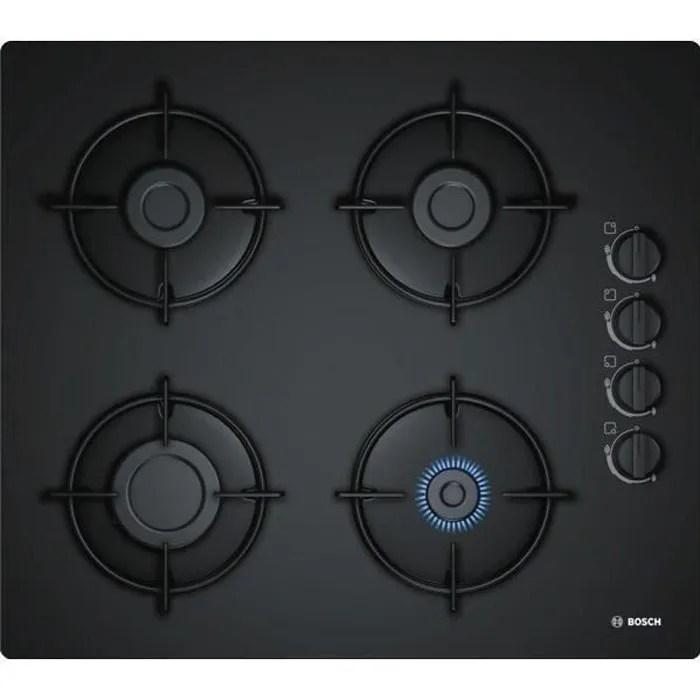 BOSCH POP6B6B10 Table de cuisson gaz  4 foyers  7400W  L56 x P48cm  Revtement verre tremp