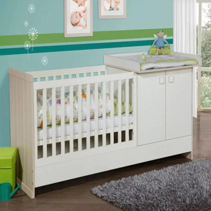 lit combin design avec commode et table  langer Blanc BLANC  Achat  Vente lit bb
