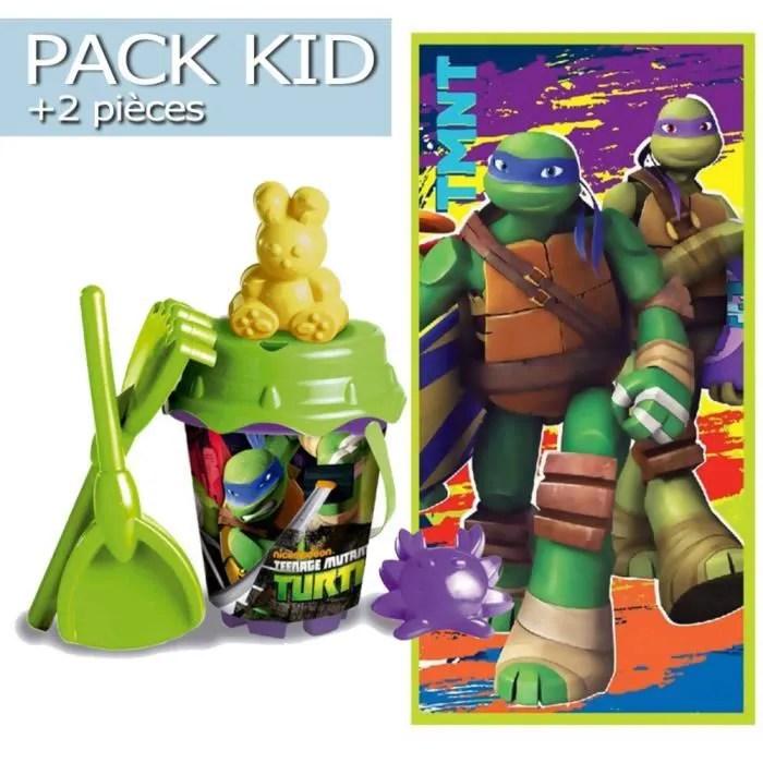 pack kid jouets de plage serviette tortues ninja 2 pieces