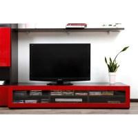 Meuble TV design lumineux chocolat et rouge laqu - Achat ...