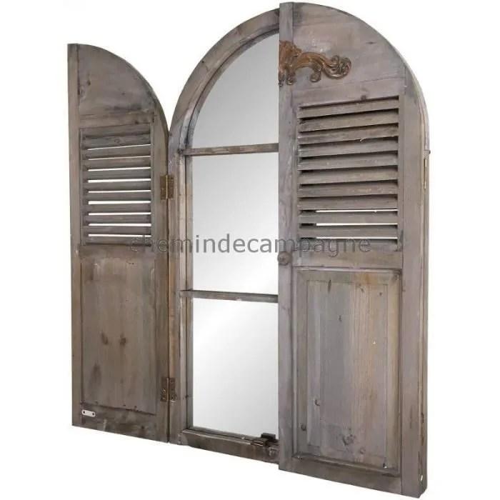 grand miroir fenetre a volet en bois 53 80 cm volets fermes 108 20 cm volets ouverts marron