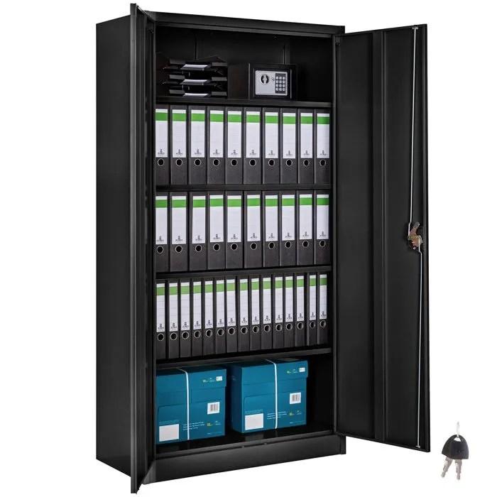 tectake armoire de bureau meuble de rangement de classement a 4 etageres reglables a 2 cles en acier 90 cm x 40 cm x 180 cm noir
