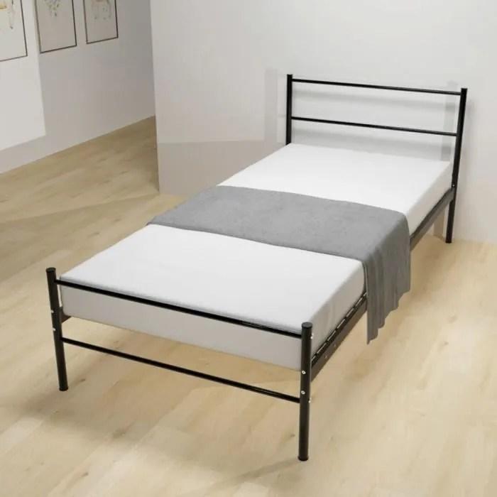 p120 cadre de lit metal noir 90 x 200 cm