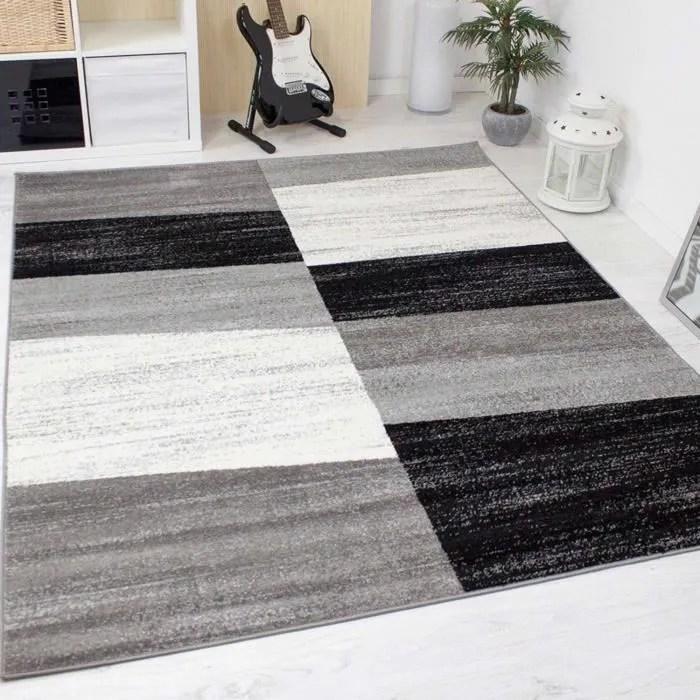 Tapis design pour le salon modern gris blanc et noir 160x220 cm  Achat  Vente tapis  Cdiscount
