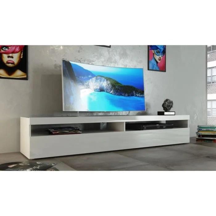 BURRATA Meuble TV 200cm Laqu Blanc Achat Vente Meuble