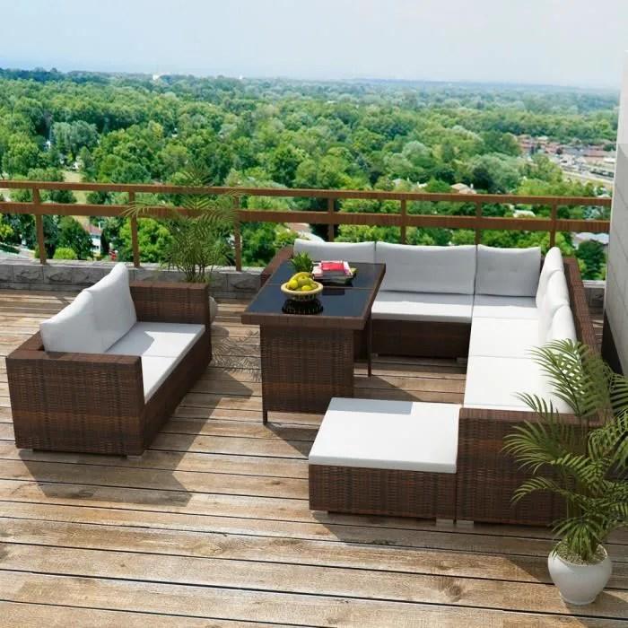 ensemble 28pcs salon en rotin et table coussin pour jardin patio meubles exterieur brun