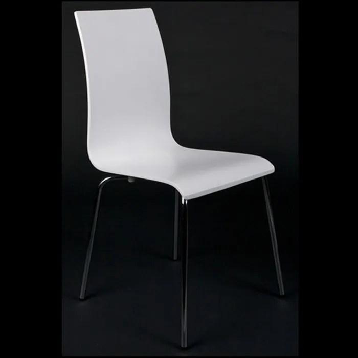 Chaises de salon ou de cuisine Blanche lot de 4  Achat  Vente chaise Bois acier chrom