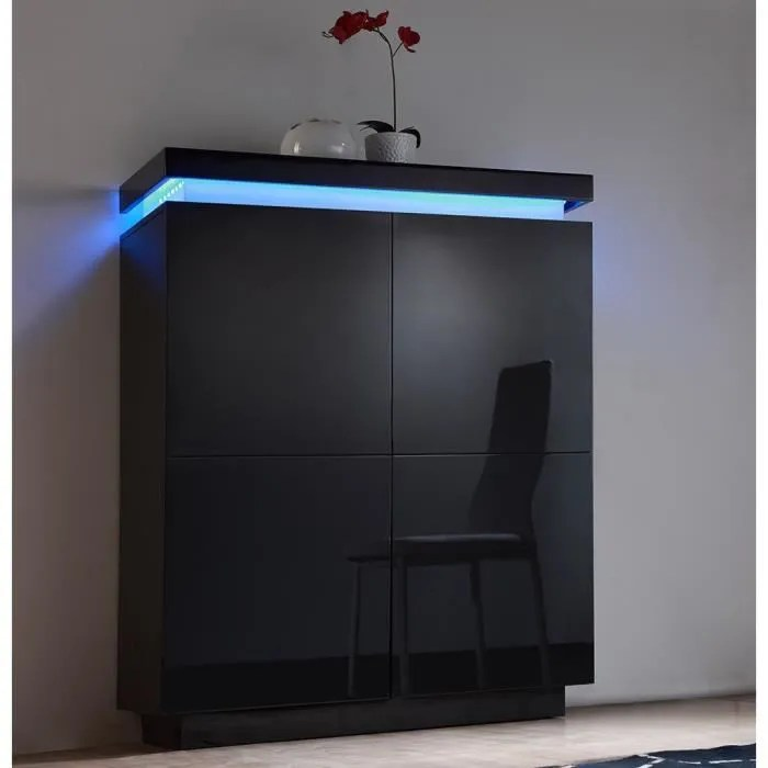 FLASH Buffet haut laqu noir avec leds multicolores  Achat  Vente buffet  bahut FLASH Buffet
