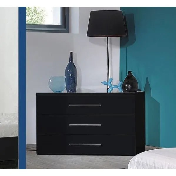 FIRST Commode 3 tiroirs laque noire  Achat  Vente commode de chambre FIRST Commode laque
