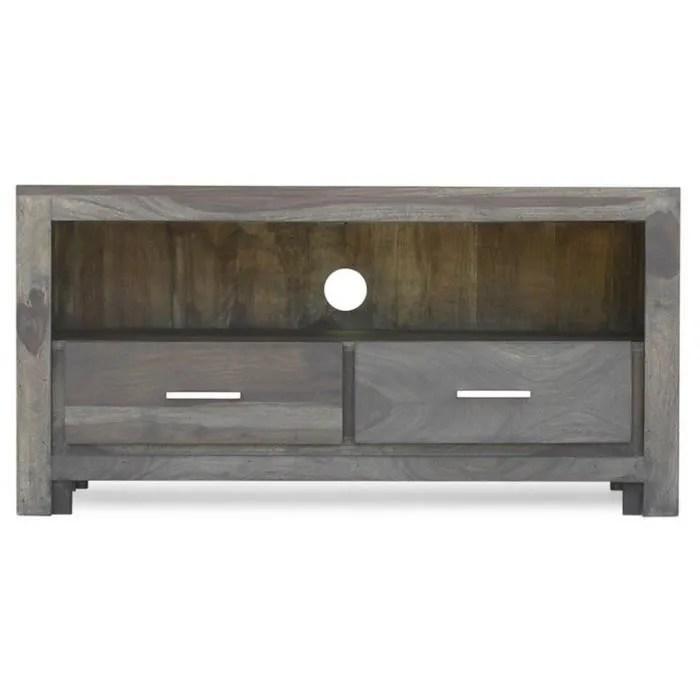 meuble tv bois massif de sheesham palissandre couleur brun taupe metro polis 102