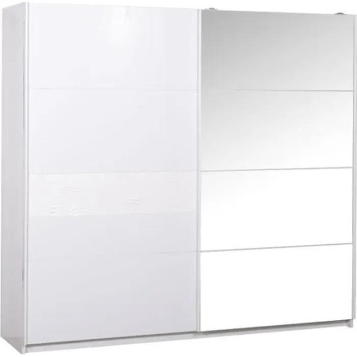 armoire 2 portes coulissantes laque blanc senya l 260 x l 65 x h 223 cm