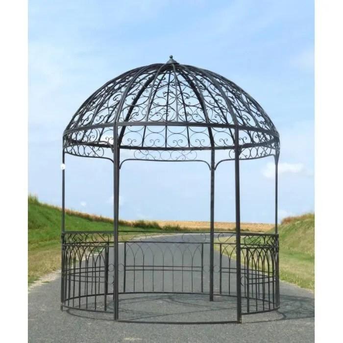 Grande Tonnelle Kiosque de Jardin Pergola Abris Rond en Fer Marron 250x250x290cm  Achat  Vente