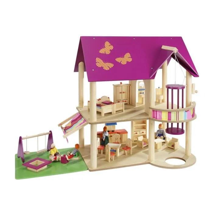 howa maison de poupee en bois avec 22 p de mobilier 4 poupees 70041
