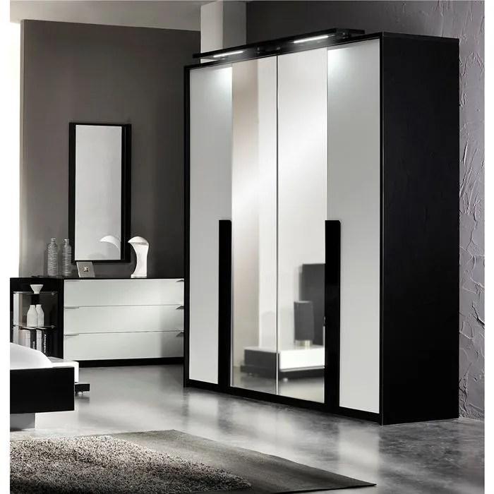 AROMA Armoire 4 Portes 2 Miroirs Laqu Noirblanc Achat