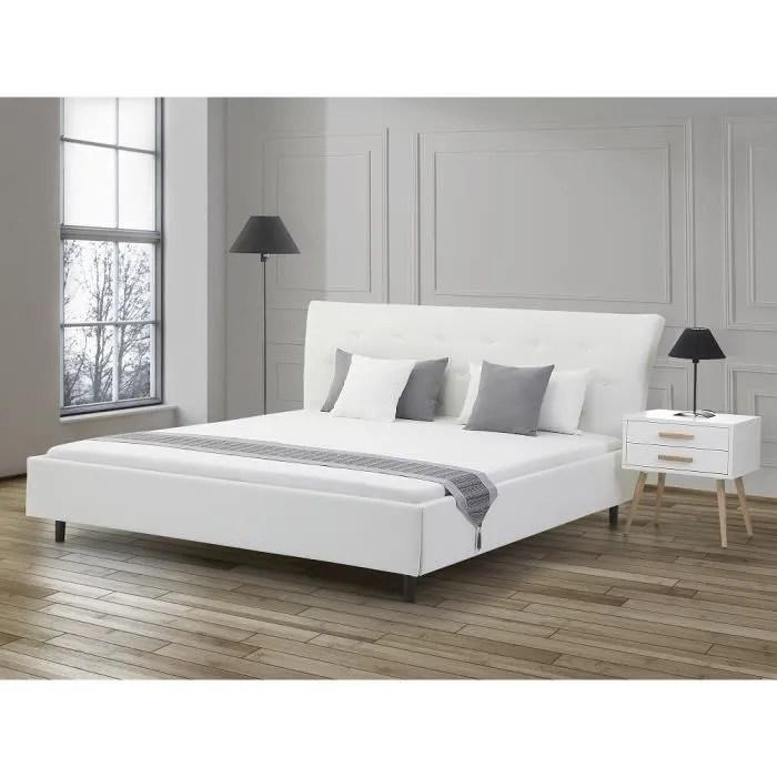 lit design en cuir lit double 160x200 cm blanc sommier inclus saverne