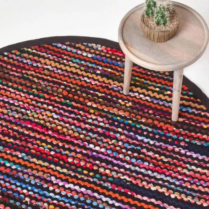 tapis rond tisse chindi multicolore folk 150 cm
