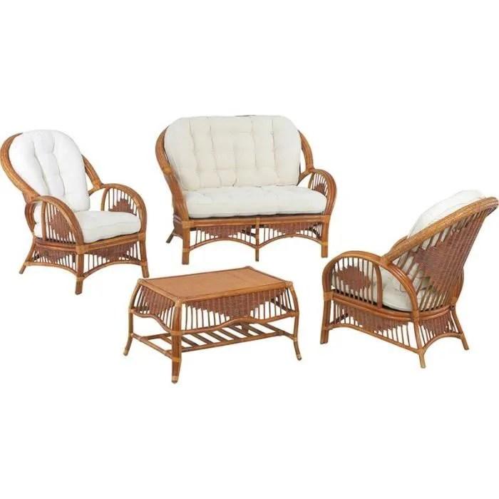 Salon en rotin 4 pices canap 2 places en rotin 2 fauteuils en rotin 1 table basse en rotin
