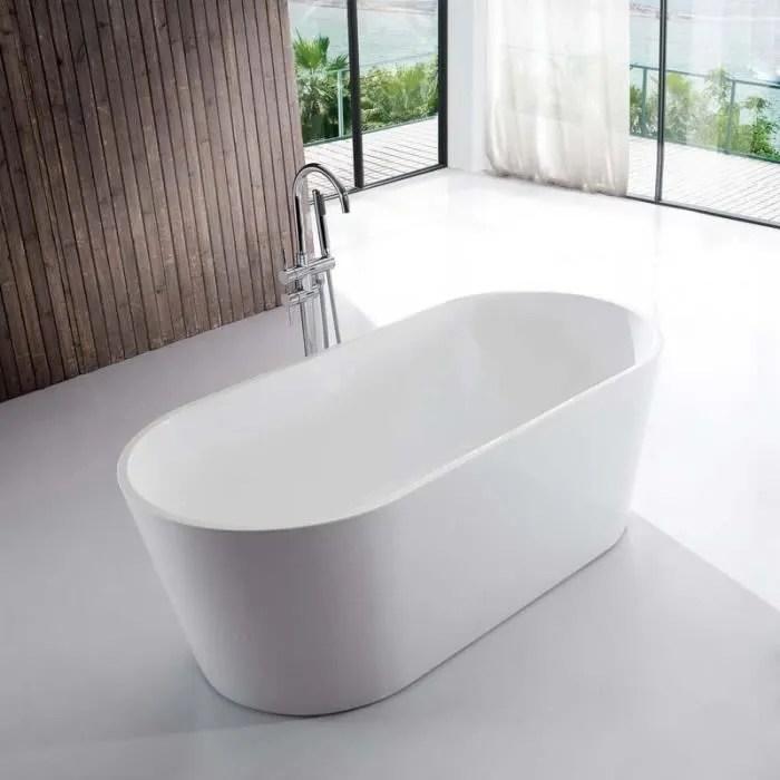 Baignoire Ilot Ovale Acrylique Blanc 140x70 Cm Naples