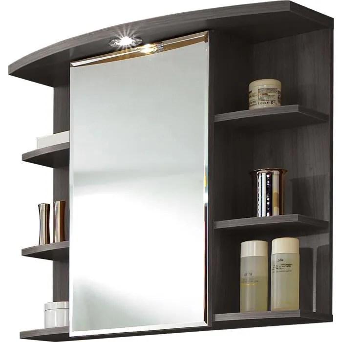 Armoire miroir avec lumire coloris Frnecarbon repro L70 x H65 x P30 cm   Armoire miroir