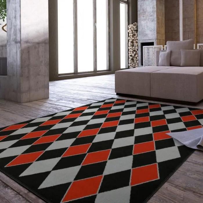 Tapis salon LOSANGES rouge et gris UNIVERSOL  Achat  Vente tapis  Cdiscount