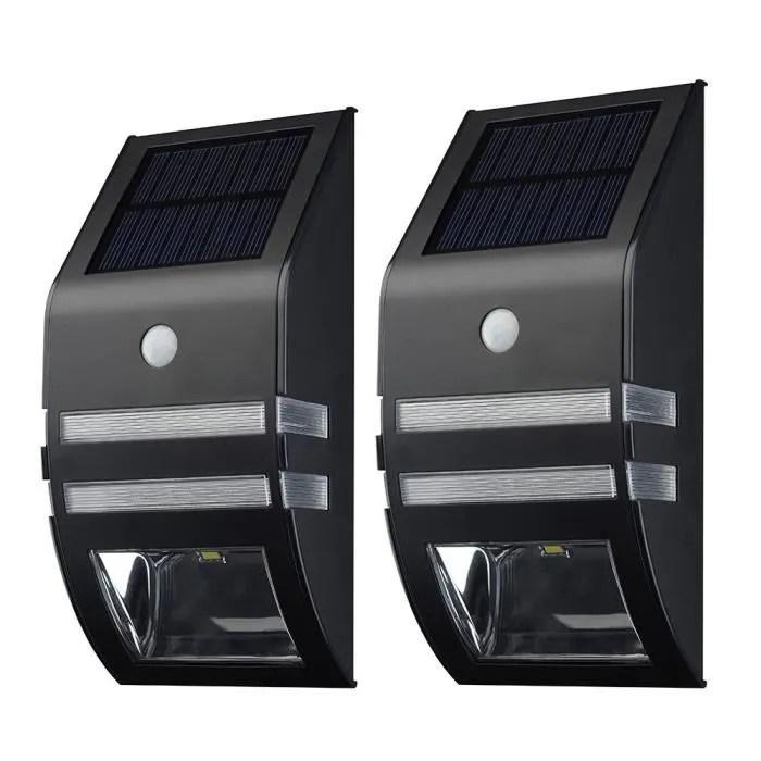 Lampe Solaire Murale LED2 Pack Eclairage Solaires dExterieur Detecteurs de Mouvement