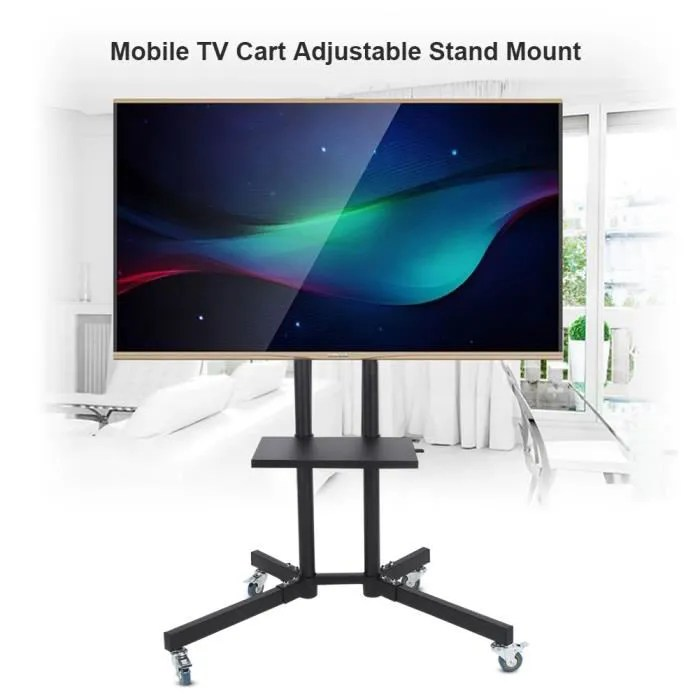 fixation support tv support reglable pour chariot de television mobile