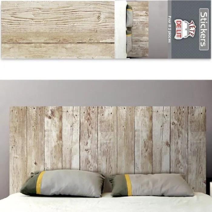 stickers autocollant mural tete de lit planches de bois
