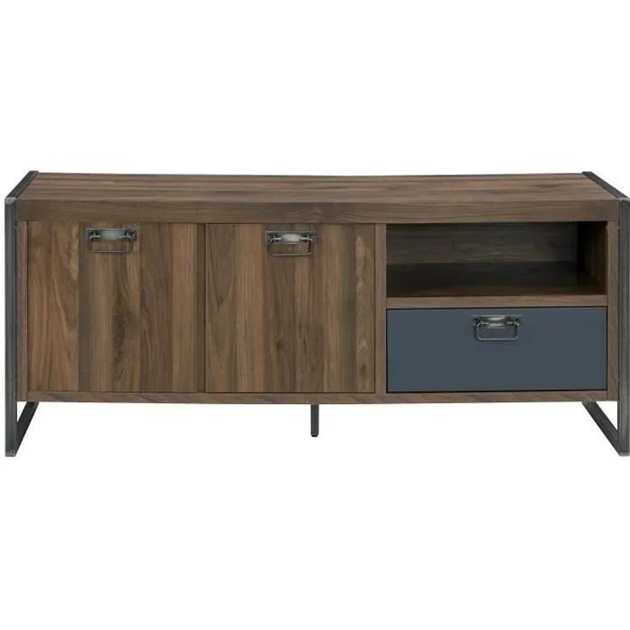 indus chic meuble tv industriel decor noyer l 142 cm