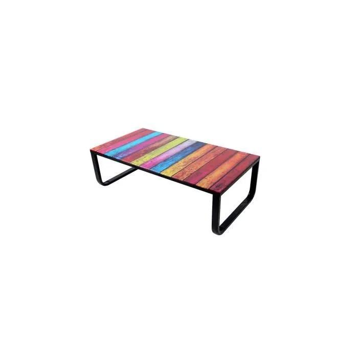 Table Basse Avec Plateau Verre Multicolore Rainbow Achat