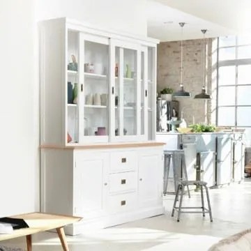 Vaisselier Blanc Et Teck 170 Cottage Achat Vente