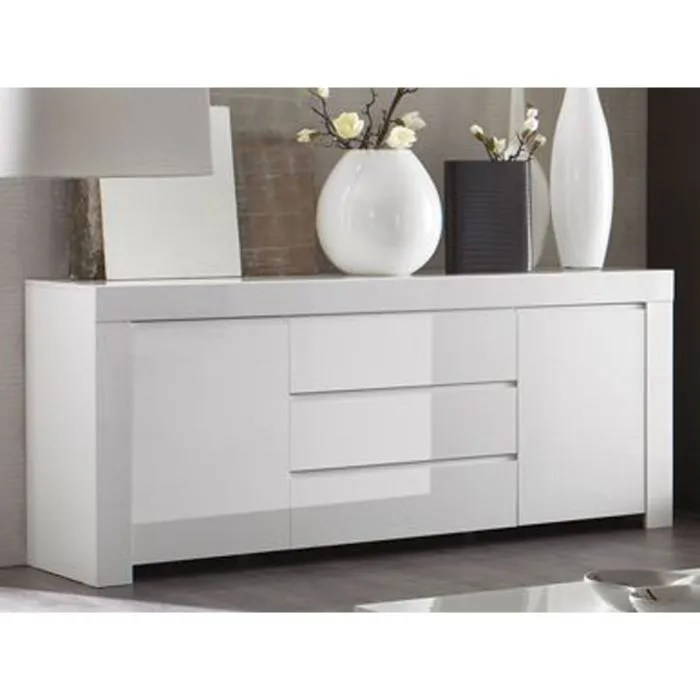 Buffet bas de cuisine buffet design 4 portes avec leds en for Buffet blanc laque conforama