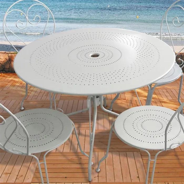 Table de jardin ronde en acier Blanc O100cm  Achat  Vente table basse jardin Table de jardin
