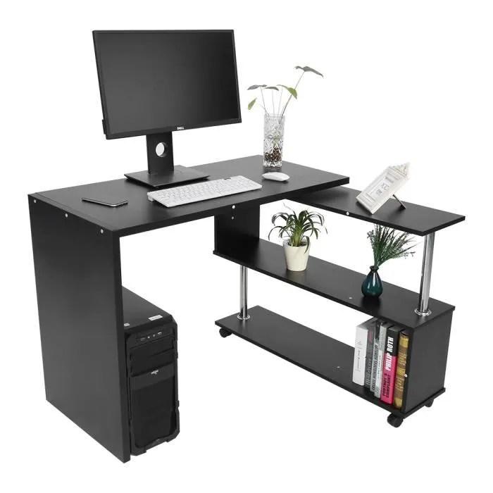 bureau informaqiue pivotant bureau d ordinateur en coin table en forme de l avec etageres noir