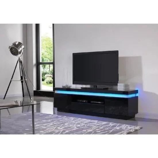 flash meuble tv avec led contemporain noir laque brillant l 165 cm achat vente meuble tv flash meuble tv leds cdiscount