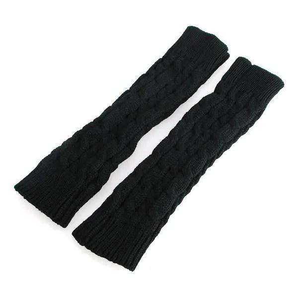 gants mitaines manchon poignet laine bras tricot chaud hiver 30cm noir tu