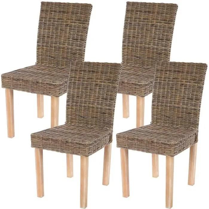 lot de 4 chaises de sejour littau chaise en osier rotin kubu