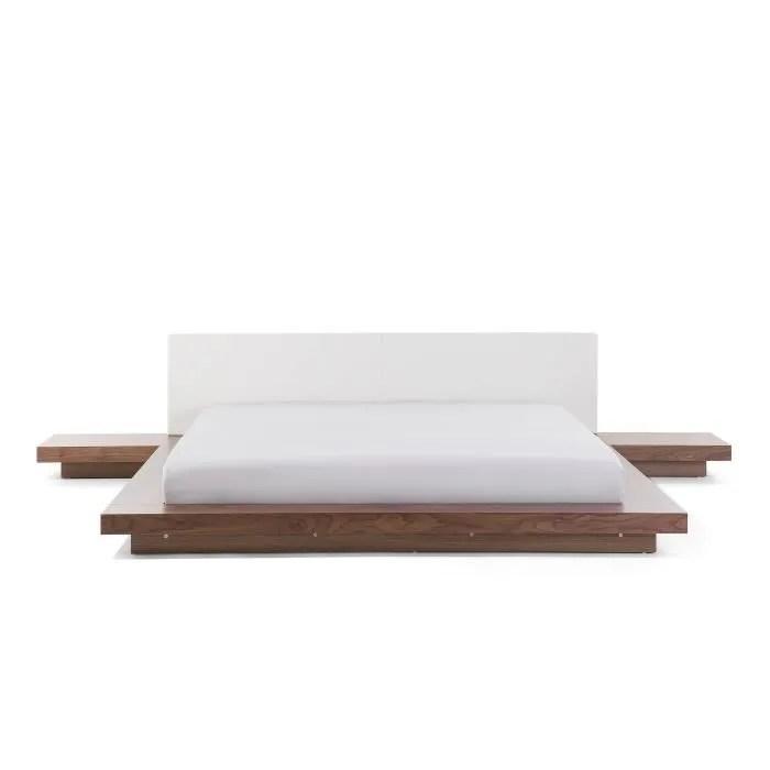 lit design 180x200 cm cadre avec chevets integres en bois marron clair zen
