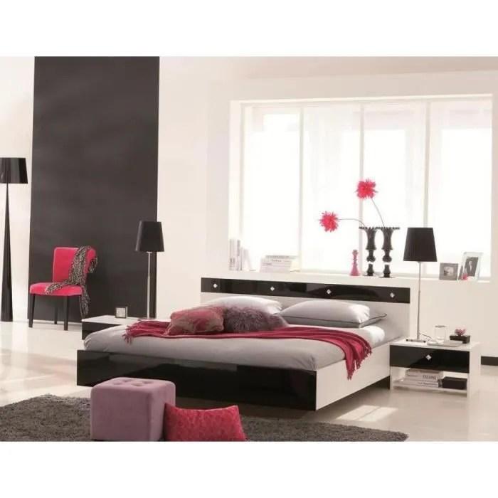 Chambre Amlia NoirBlanc Laqu 140x190  Achat  Vente chambre complte Chambre Amlia Noir