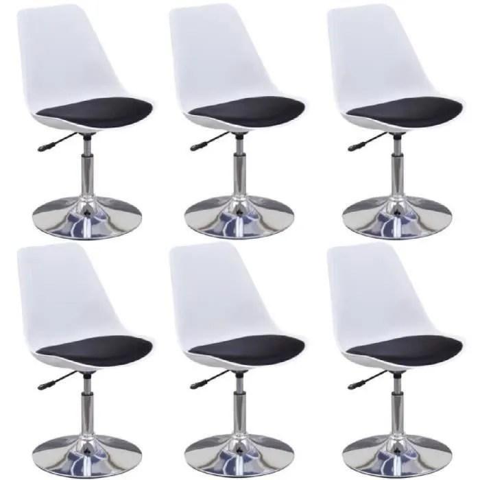 6pcs chaises moderne a manger pivotantes reglables en hauteur avec dossier blanc et noir pour bureau salon bar ou cafe