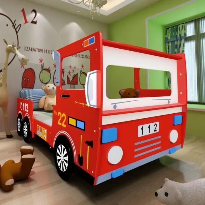 lit enfant design camion pompier lits de bebe pour enfants 200 x 90 cm rouge