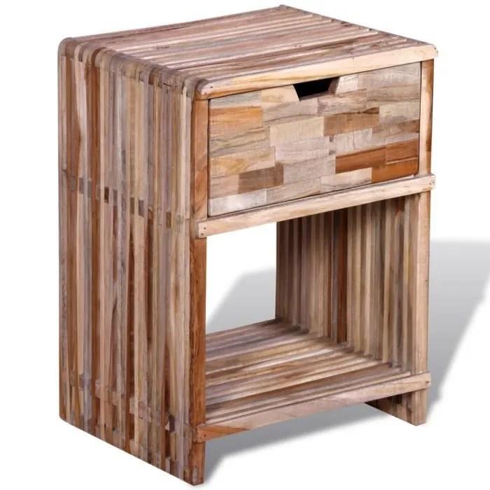 chevets table de chevet avec tiroir en teck recycle