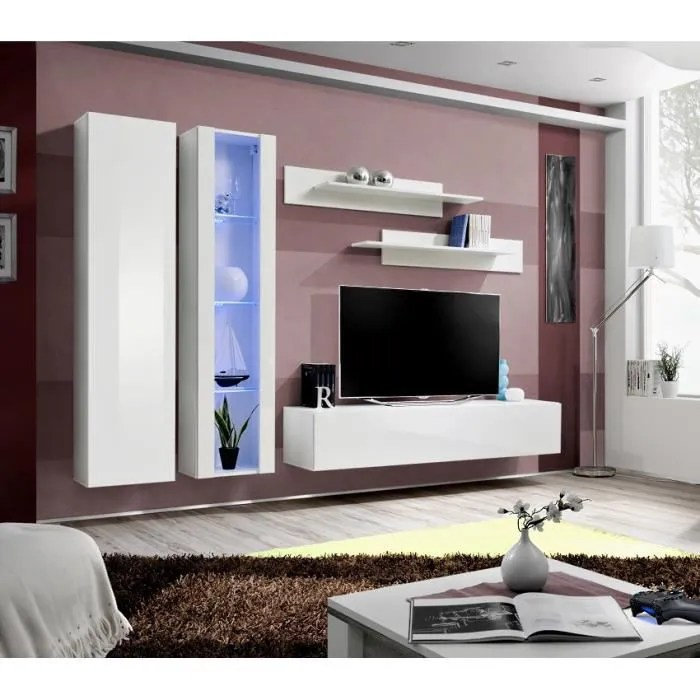 Meuble De Salon TV Suspendu FLIX A4 Moderne 260 Cm Blanc