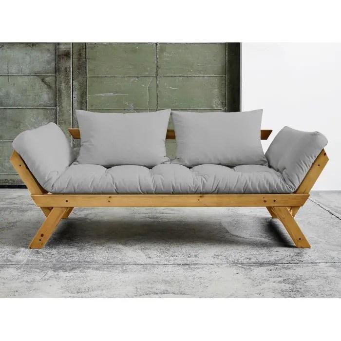 canape convertible 2 places gris avec matelas futon et bois miel bebop