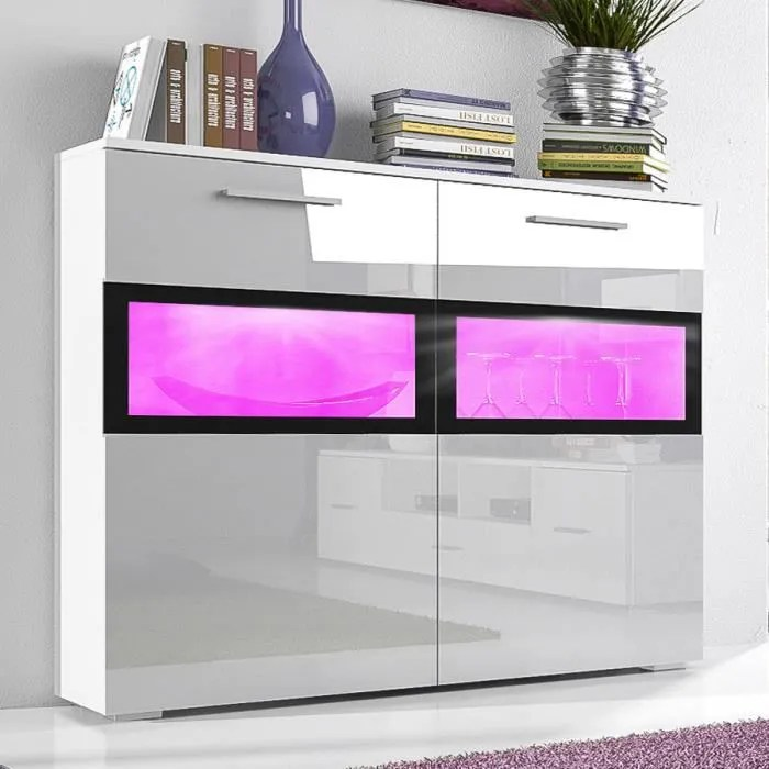 buffet moderne laqu c a blanc brillant tiroirs anabel with. Black Bedroom Furniture Sets. Home Design Ideas