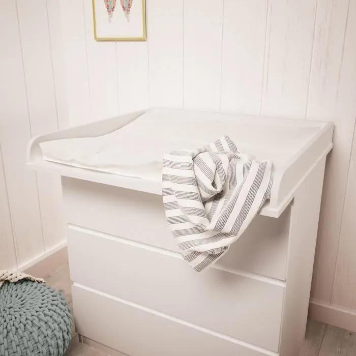 Plan à Langer Polini Kids Pour Commode Ikea Malm Bois Couleur Blanc