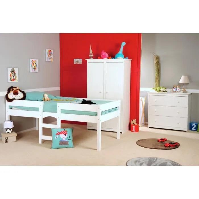 Chambre enfant avec lit surlev Grain dOrge Blanc Blanc  Achat  Vente chambre complte bb