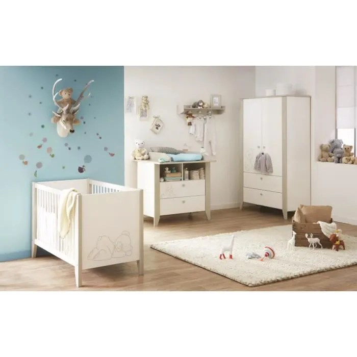 OURSON Chambre Bb Complte  Lit  Armoire  Commode Blanc et Taupe  Achat  Vente chambre